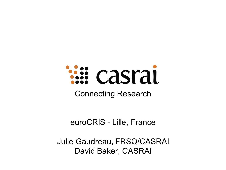 Connecting Research euroCRIS - Lille, France Julie Gaudreau, FRSQ/CASRAI David Baker, CASRAI