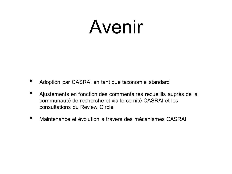 Avenir Adoption par CASRAI en tant que taxonomie standard Ajustements en fonction des commentaires recueillis auprès de la communauté de recherche et