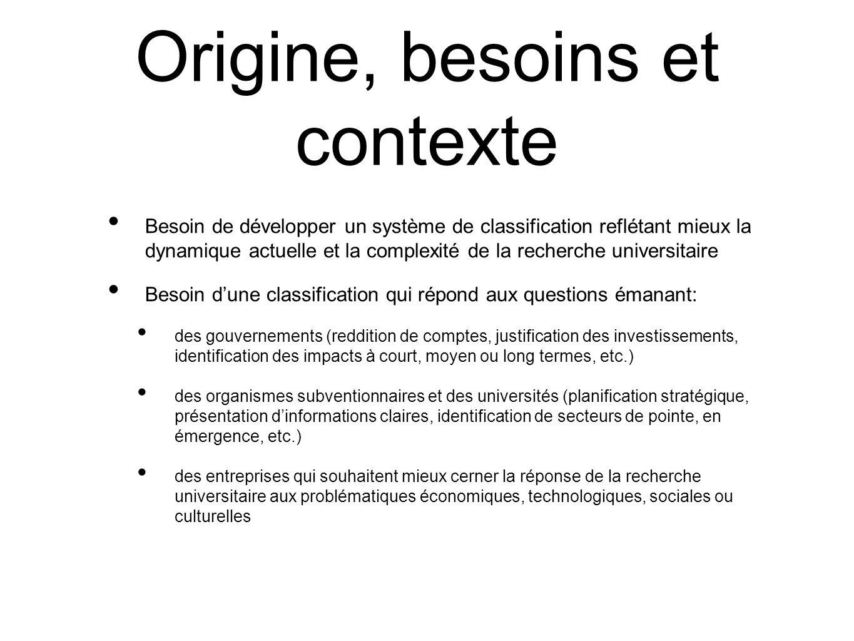 Origine, besoins et contexte Besoin de développer un système de classification reflétant mieux la dynamique actuelle et la complexité de la recherche