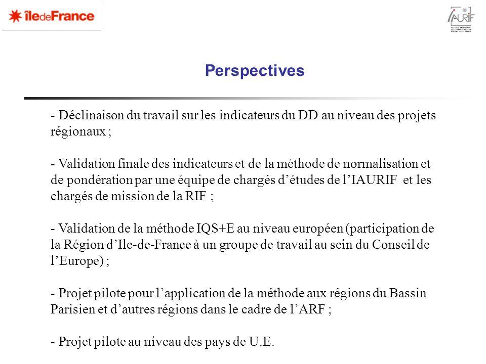 Perspectives - Déclinaison du travail sur les indicateurs du DD au niveau des projets régionaux ; - Validation finale des indicateurs et de la méthode