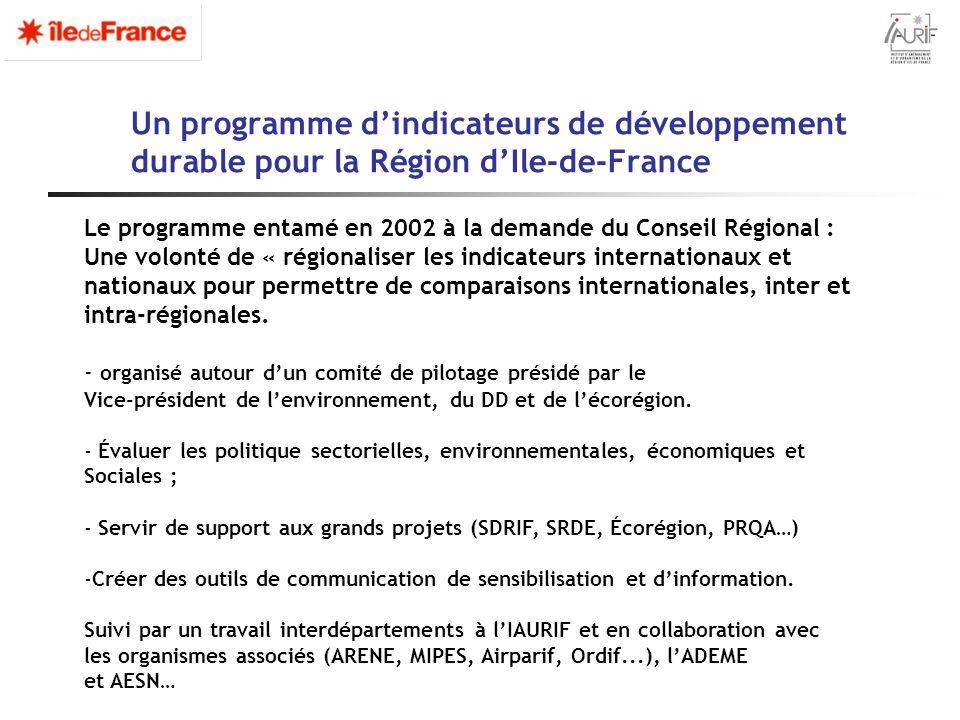 Un programme dindicateurs de développement durable pour la Région dIle-de-France Le programme entamé en 2002 à la demande du Conseil Régional : Une vo