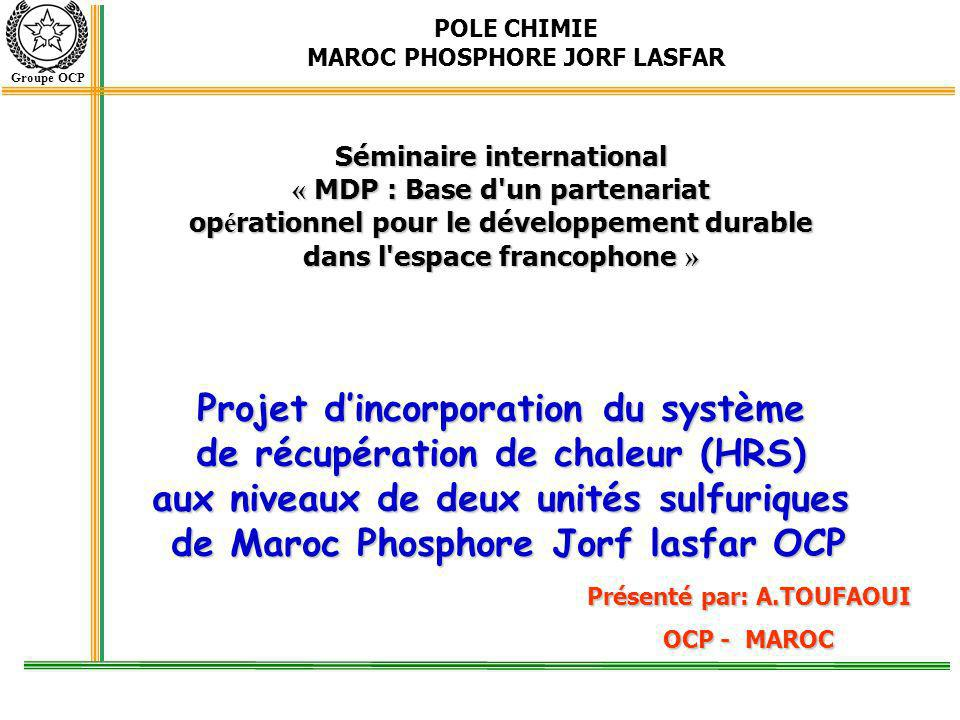 POLE CHIMIE MAROC PHOSPHORE JORF LASFAR Groupe OCP Projet dincorporation du système de récupération de chaleur (HRS) aux niveaux de deux unités sulfur