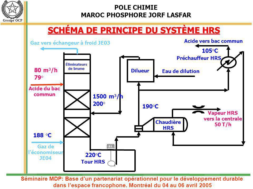 POLE CHIMIE MAROC PHOSPHORE JORF LASFAR Groupe OCP Atelier phosphorique Vapeur procédé Consommation usine Acide sulfurique Vapeur HP Vapeur MP Soufre Eau alimentaire ONE Phosphorique, fusion, autres Utilisation vapeur HRS dans la production de lénergie électrique Soutirage MP Production EE Vapeur HRS 50 t/h + 8 MW 2 HRS : 125 300 MWH/an Séminaire MDP: Base dun partenariat opérationnel pour le développement durable dans lespace francophone.