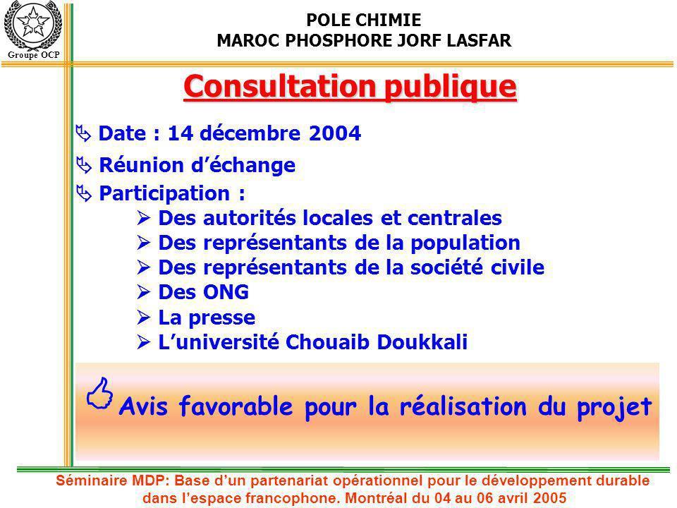 POLE CHIMIE MAROC PHOSPHORE JORF LASFAR Groupe OCP Conclusion Projet choisi par S.E.E parmi trois projets pilotes au niveau national; PDD a été développé avec lappui du PNUD – PNUE RC MDP exécuté par le ministère de lAménagement du territoire, de lEau et de lEnvironnement; Validation du projet par lAutorité nationale désignée; Consultation publique : 14/12/2004; Passation de commandes pour validation du projet auprès du Conseil exécutif des Nations Unies; Apport projet HRS : Récupération de 100 T/h vapeur Production de 126 400 MWH/an Réduction des émissions CO 2 de 91 000 T CO 2 /an Réduction du rejet dans la mer de 23 200 000 m 3 /an Séminaire MDP: Base dun partenariat opérationnel pour le développement durable dans lespace francophone.