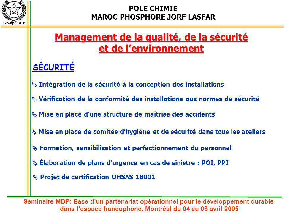 POLE CHIMIE MAROC PHOSPHORE JORF LASFAR Groupe OCP Intégration de la sécurité à la conception des installations Vérification de la conformité des inst