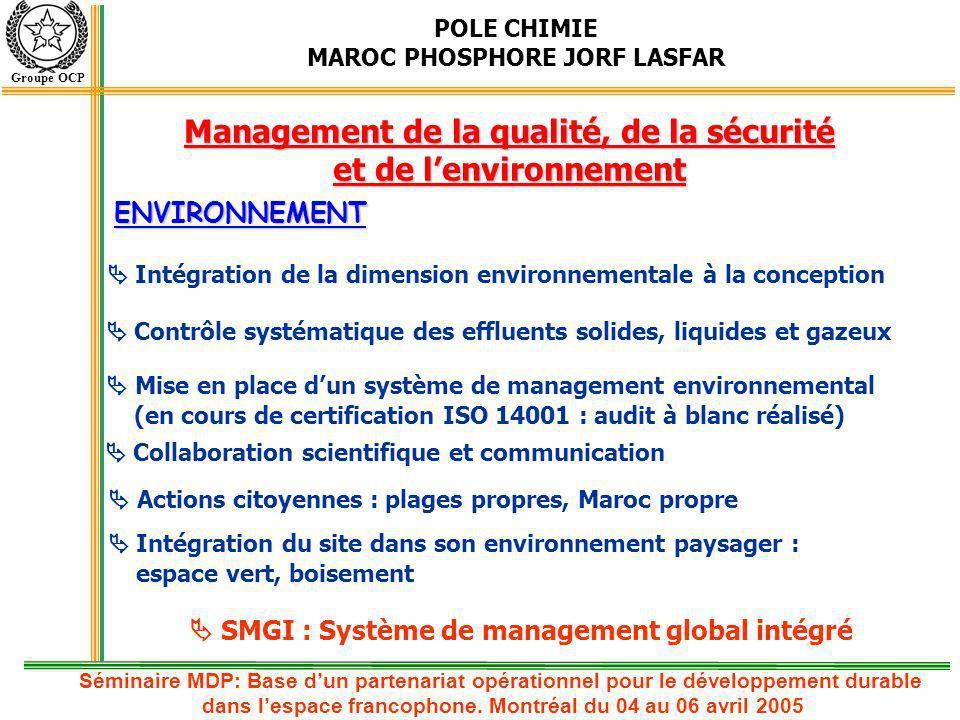 POLE CHIMIE MAROC PHOSPHORE JORF LASFAR Groupe OCP Liste de quelques projets du portefeuille MDP OCP Liste non exhaustive Séminaire MDP: Base dun partenariat opérationnel pour le développement durable dans lespace francophone.