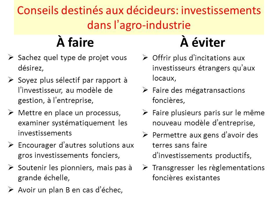 Conseils destinés aux décideurs: investissements dans lagro-industrie À faire Sachez quel type de projet vous désirez, Soyez plus sélectif par rapport