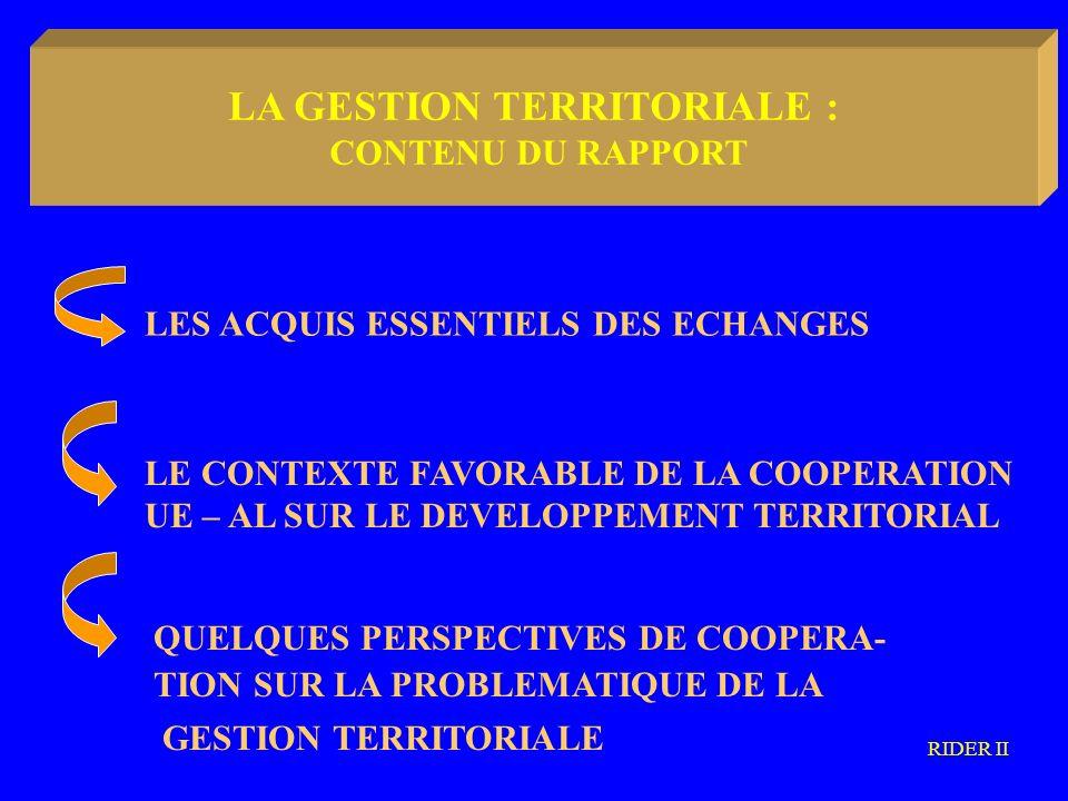 LA METODOLOGIA COMMUNAUTARIA LES ACQUIS ESSENTIELS DES ECHANGES QUELQUES PERSPECTIVES DE COOPERA- TION SUR LA PROBLEMATIQUE DE LA GESTION TERRITORIALE LE CONTEXTE FAVORABLE DE LA COOPERATION UE – AL SUR LE DEVELOPPEMENT TERRITORIAL RIDER II LA GESTION TERRITORIALE : CONTENU DU RAPPORT