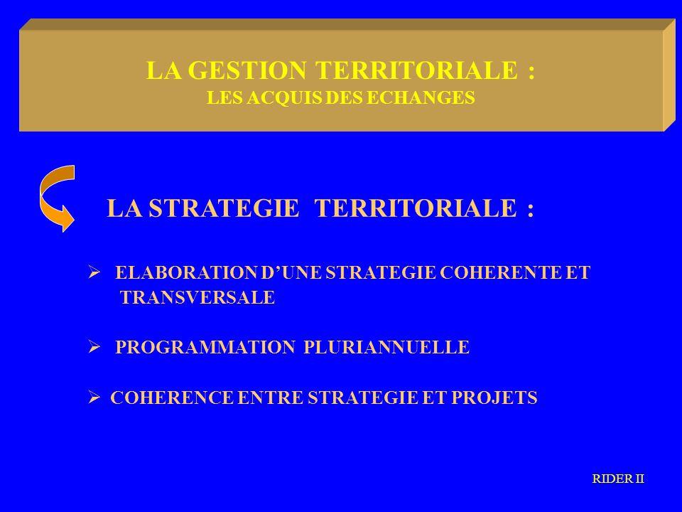 LA METODOLOGIA COMMUNAUTARIA LA STRATEGIE TERRITORIALE : ELABORATION DUNE STRATEGIE COHERENTE ET TRANSVERSALE PROGRAMMATION PLURIANNUELLE COHERENCE ENTRE STRATEGIE ET PROJETS RIDER II LA GESTION TERRITORIALE : LES ACQUIS DES ECHANGES