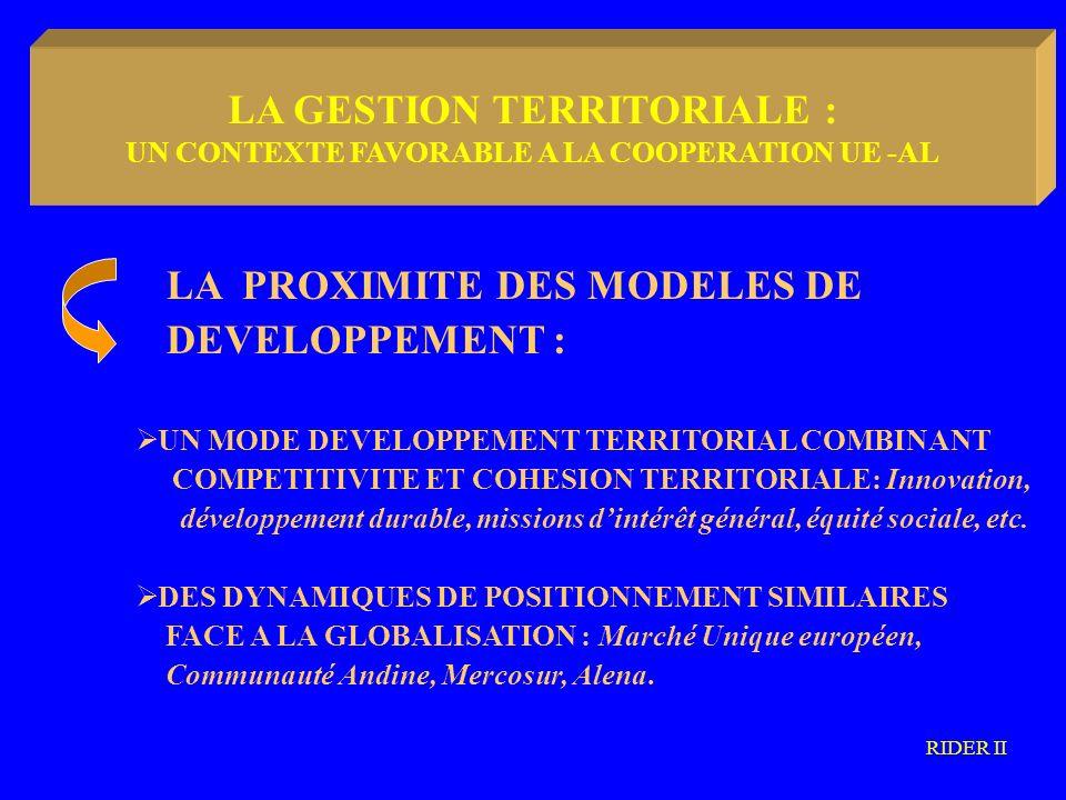 LA METODOLOGIA COMMUNAUTARIA Trois constats majeurs : UN DOMAINE PRIVILEGIE : le partage des méthodologies et de savoir-faire UN POTENTIEL COMMUN RICHE DEXPERIENCES CONCRETES EN GESTION TERRITORIALE UNE TROP FAIBLE STRUCTURATION DES METHODOLOGIES ET DES METHODES EN GESTION TERRITORIALE RIDER II LA GESTION TERRITORIALE : DES PISTES DE COOPERATION FUTURES ?