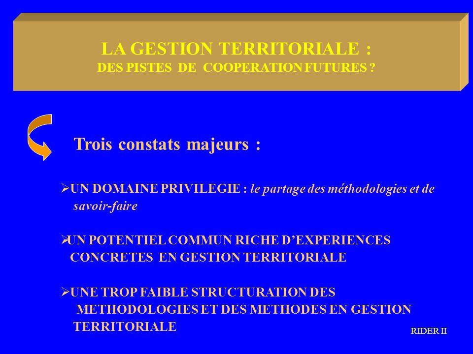 LA METODOLOGIA COMMUNAUTARIA TROIS PISTES POSSIBLES : UNE CAPITALISATION DES METHODOLOGIES ET DES SAVOIR-FAIRE: processus, modes dorganisation institutionelle et opérationnelle, évaluation, etc… UNE MUTUALISATION DES CONNAISSANCES ET DES SAVOIR-FAIRE EN GESTION TERRITORIALE : méthodes comparatives, dégagement de méthodologies communes, etc… UNE DIFFUSION VERS LES ACTEURS DU DEVELOPPEMENT TERRITORIAL RIDER II LA GESTION TERRITORIALE : DES PISTES DE COOPERATION FUTURES ?
