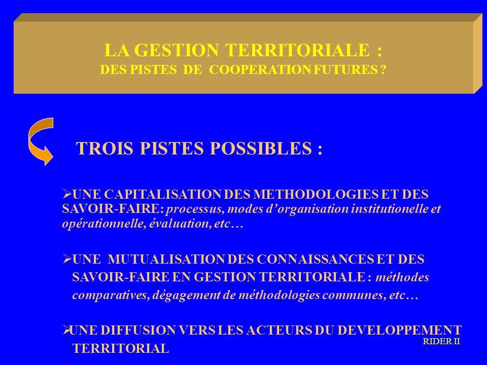 LA METODOLOGIA COMMUNAUTARIA TROIS PISTES POSSIBLES : UNE CAPITALISATION DES METHODOLOGIES ET DES SAVOIR-FAIRE: processus, modes dorganisation institutionelle et opérationnelle, évaluation, etc… UNE MUTUALISATION DES CONNAISSANCES ET DES SAVOIR-FAIRE EN GESTION TERRITORIALE : méthodes comparatives, dégagement de méthodologies communes, etc… UNE DIFFUSION VERS LES ACTEURS DU DEVELOPPEMENT TERRITORIAL RIDER II LA GESTION TERRITORIALE : DES PISTES DE COOPERATION FUTURES
