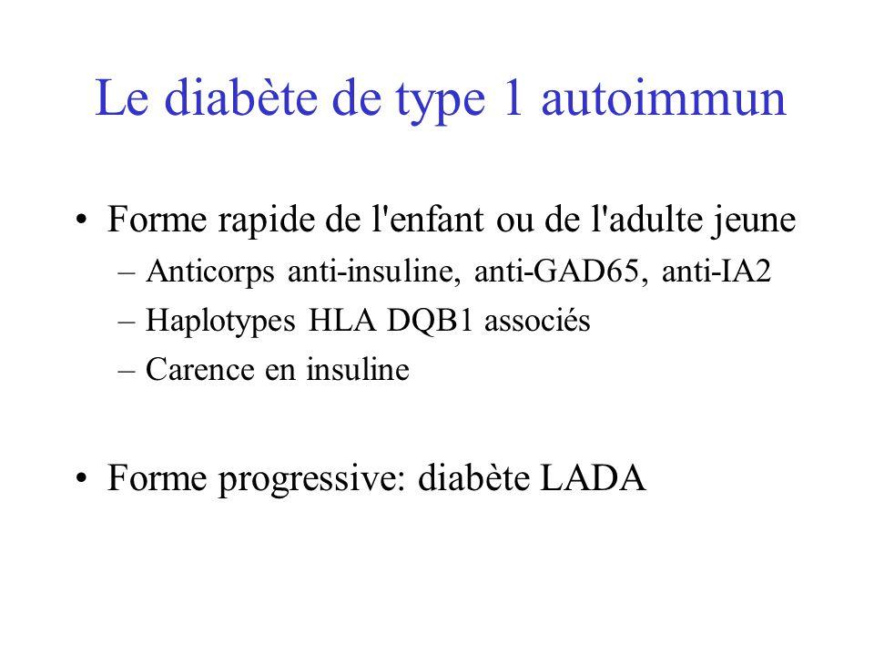 Le diabète de type 1 autoimmun Forme rapide de l'enfant ou de l'adulte jeune –Anticorps anti-insuline, anti-GAD65, anti-IA2 –Haplotypes HLA DQB1 assoc