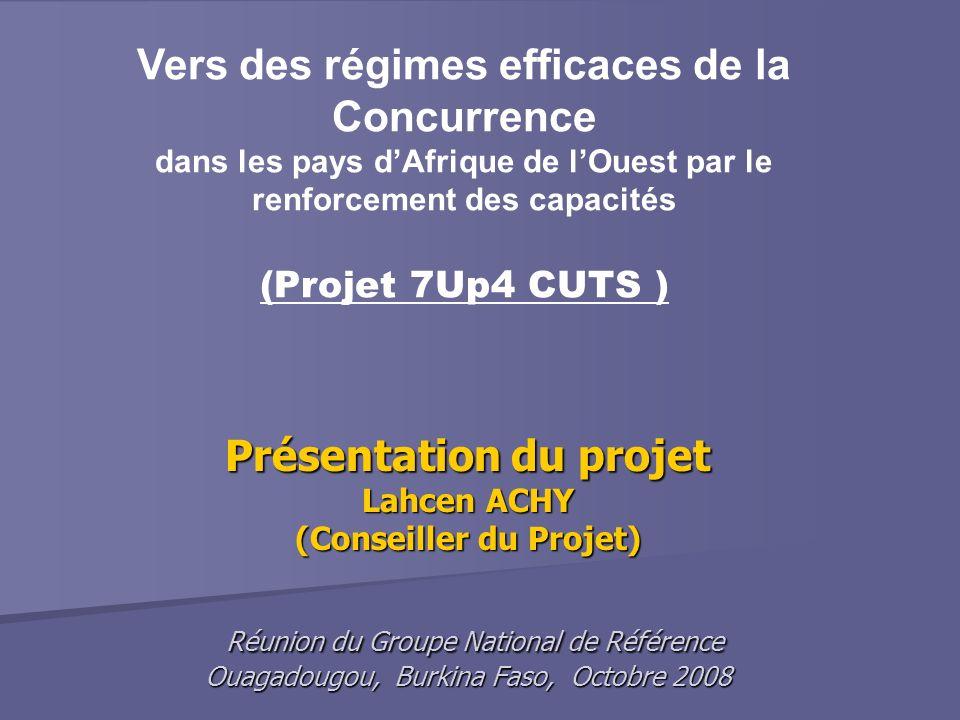 Présentation du projet Lahcen ACHY (Conseiller du Projet) Réunion du Groupe National de Référence Ouagadougou, Burkina Faso, Octobre 2008 Vers des rég