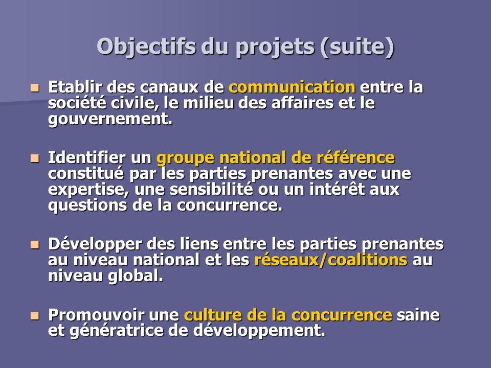 Objectifs du projets (suite) Etablir des canaux de communication entre la société civile, le milieu des affaires et le gouvernement. Etablir des canau