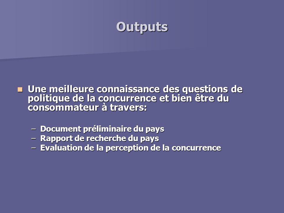Outputs Une meilleure connaissance des questions de politique de la concurrence et bien être du consommateur à travers: Une meilleure connaissance des