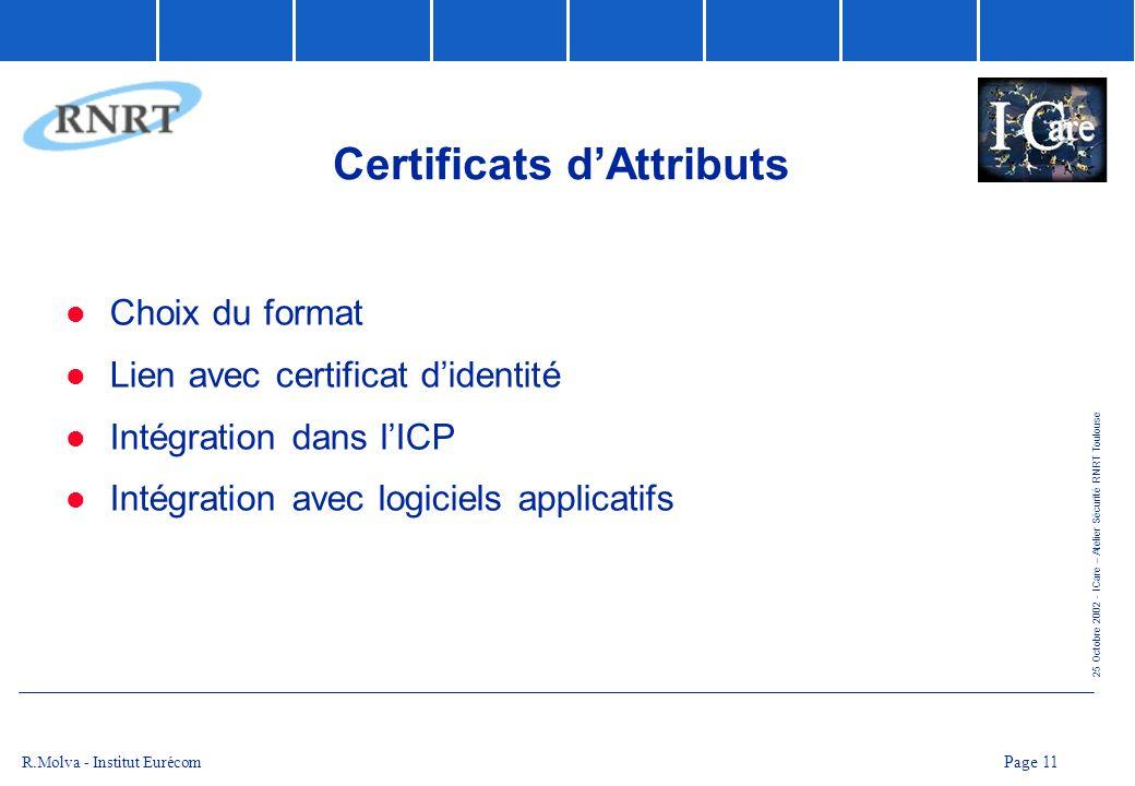 25 Octobre 2002 - ICare – Atelier Sécurité RNRT Toulouse Page 11 R.Molva - Institut Eurécom Certificats dAttributs Choix du format Lien avec certifica