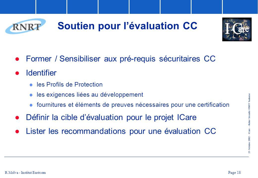 25 Octobre 2002 - ICare – Atelier Sécurité RNRT Toulouse Page 18 R.Molva - Institut Eurécom Soutien pour lévaluation CC Former / Sensibiliser aux pré-
