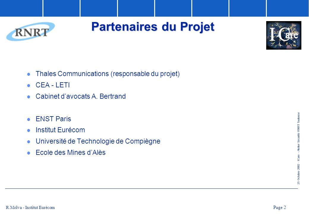 25 Octobre 2002 - ICare – Atelier Sécurité RNRT Toulouse Page 2 R.Molva - Institut Eurécom Partenaires du Projet l Thales Communications (responsable