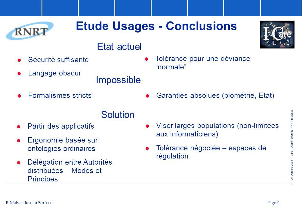 25 Octobre 2002 - ICare – Atelier Sécurité RNRT Toulouse Page 7 R.Molva - Institut Eurécom Axe R&D Limitations de lICP basé sur les certificats didentité X509 : absence support pour le contrôle daccès complexité et codage inadéquat (DN, ASN.1) Solutions : Certificats dattributs Codage XML
