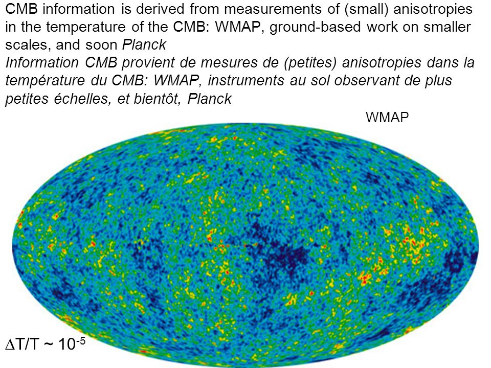 CMB information is derived from measurements of (small) anisotropies in the temperature of the CMB: WMAP, ground-based work on smaller scales, and soo