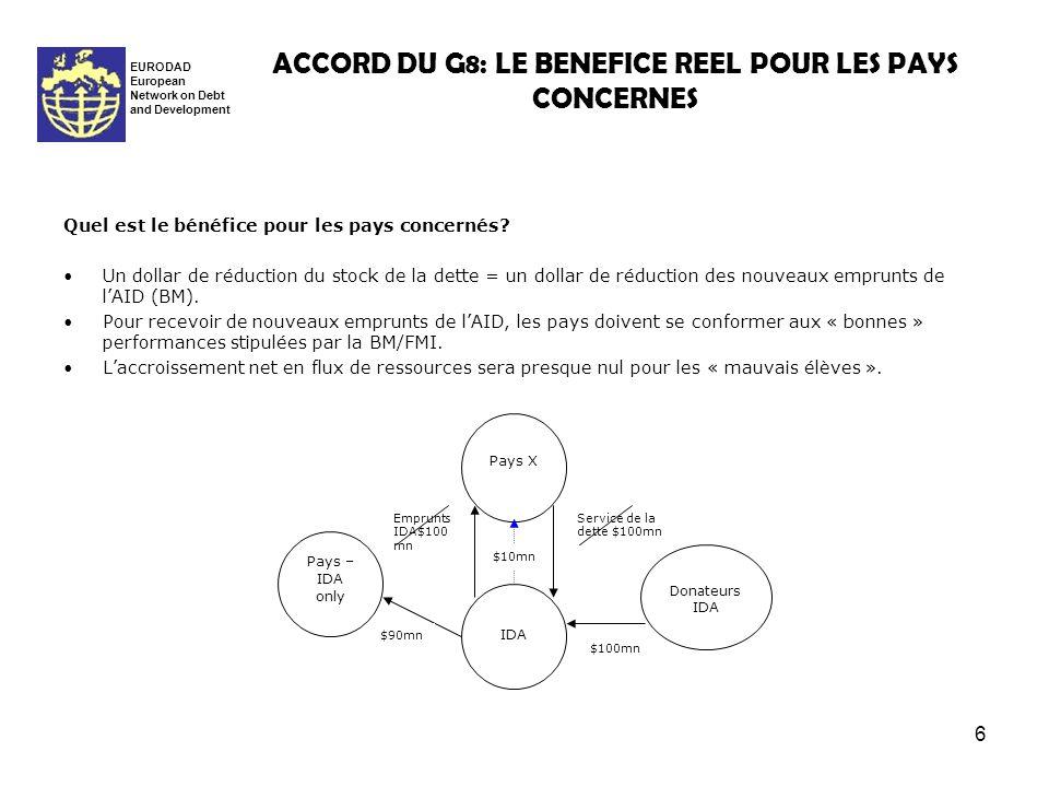 6 ACCORD DU G8: LE BENEFICE REEL POUR LES PAYS CONCERNES EURODAD European Network on Debt and Development Quel est le bénéfice pour les pays concernés.