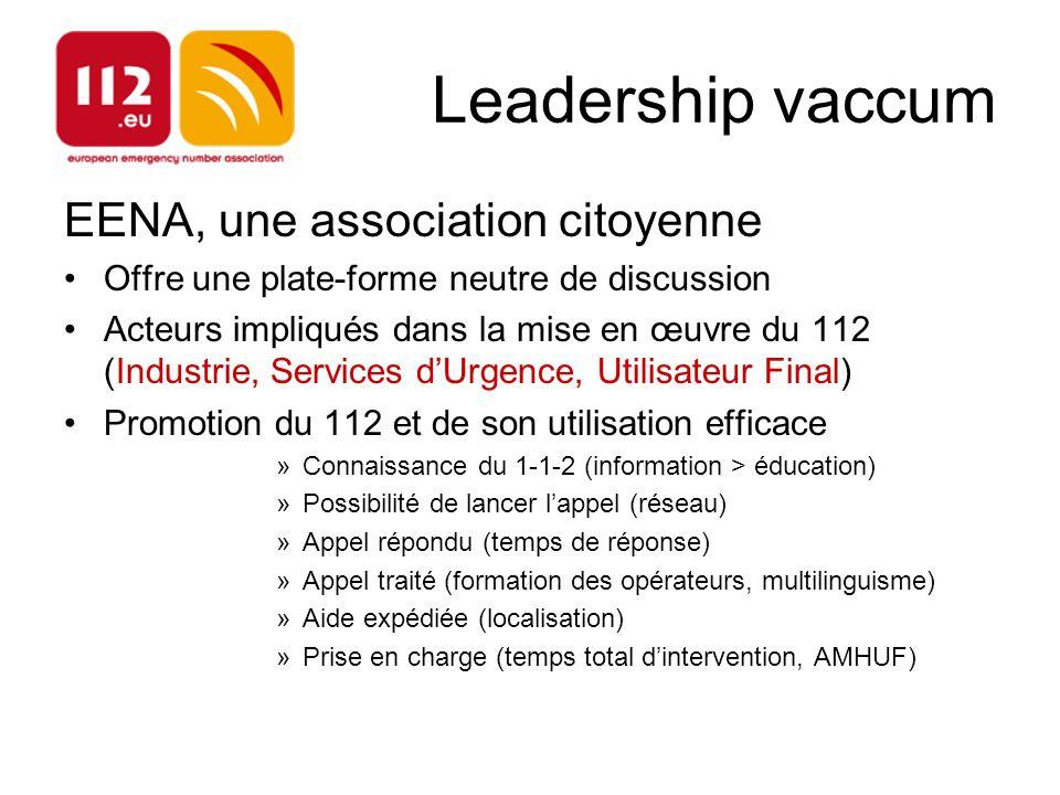 Leadership vaccum EENA, une association citoyenne Offre une plate-forme neutre de discussion Acteurs impliqués dans la mise en œuvre du 112 (Industrie
