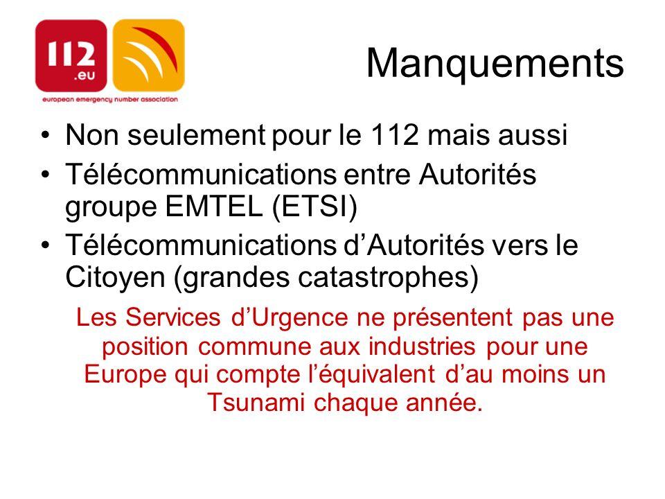 Manquements Non seulement pour le 112 mais aussi Télécommunications entre Autorités groupe EMTEL (ETSI) Télécommunications dAutorités vers le Citoyen (grandes catastrophes) Les Services dUrgence ne présentent pas une position commune aux industries pour une Europe qui compte léquivalent dau moins un Tsunami chaque année.