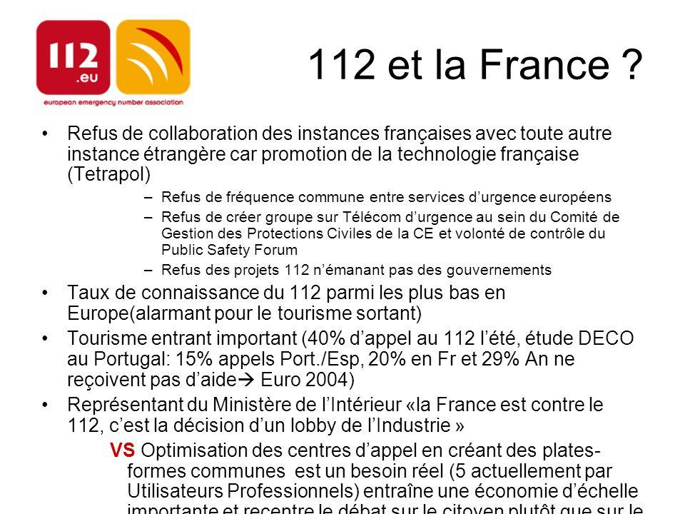 112 et la France ? Refus de collaboration des instances françaises avec toute autre instance étrangère car promotion de la technologie française (Tetr