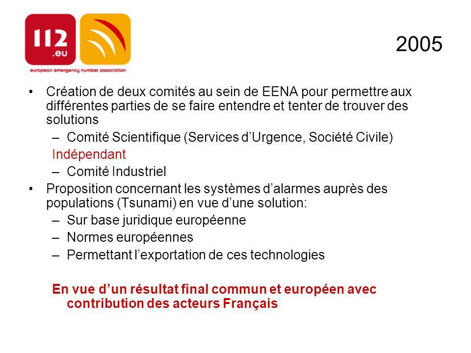 2005 Création de deux comités au sein de EENA pour permettre aux différentes parties de se faire entendre et tenter de trouver des solutions –Comité S