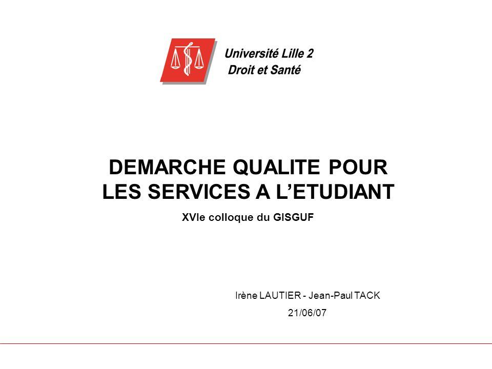 DEMARCHE QUALITE POUR LES SERVICES A LETUDIANT XVIe colloque du GISGUF Irène LAUTIER - Jean-Paul TACK 21/06/07