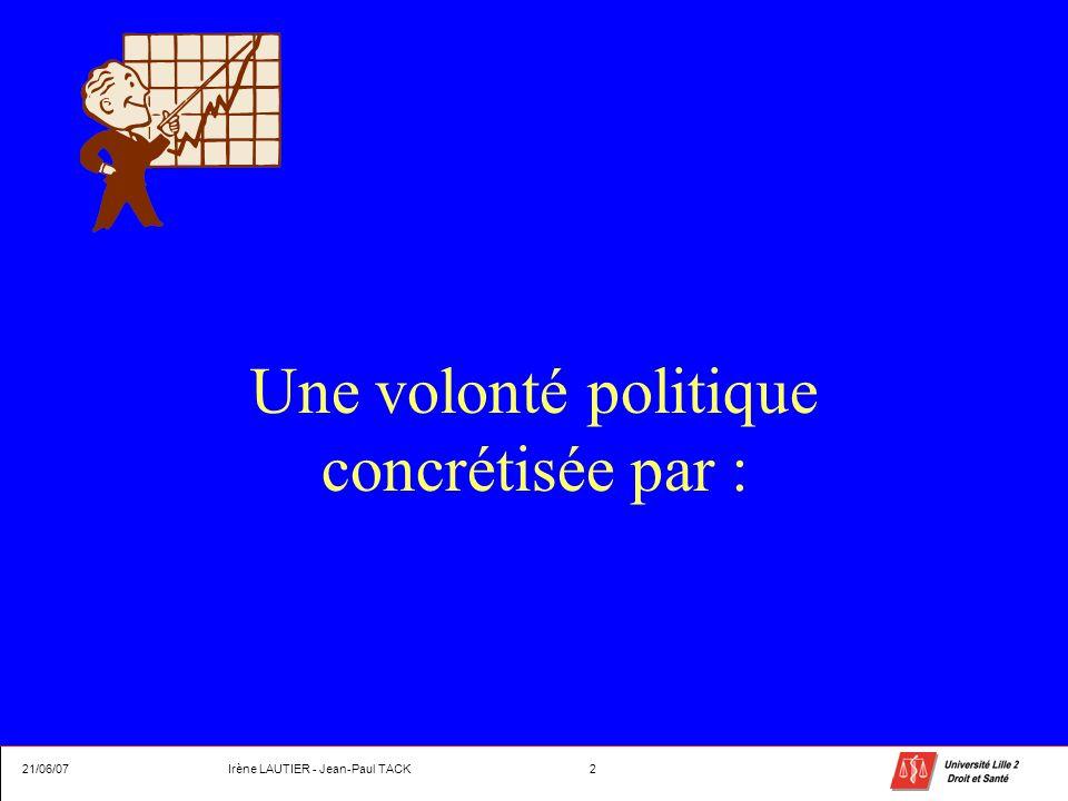 Une volonté politique concrétisée par : 21/06/07Irène LAUTIER - Jean-Paul TACK2