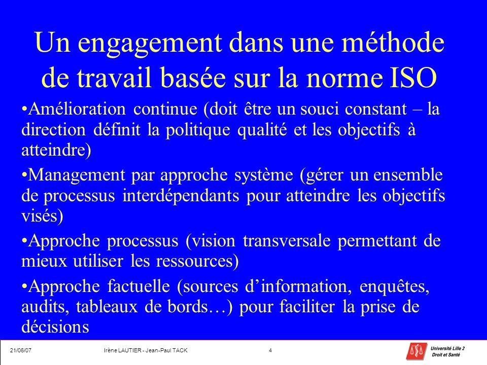 Un engagement dans une méthode de travail basée sur la norme ISO Amélioration continue (doit être un souci constant – la direction définit la politiqu
