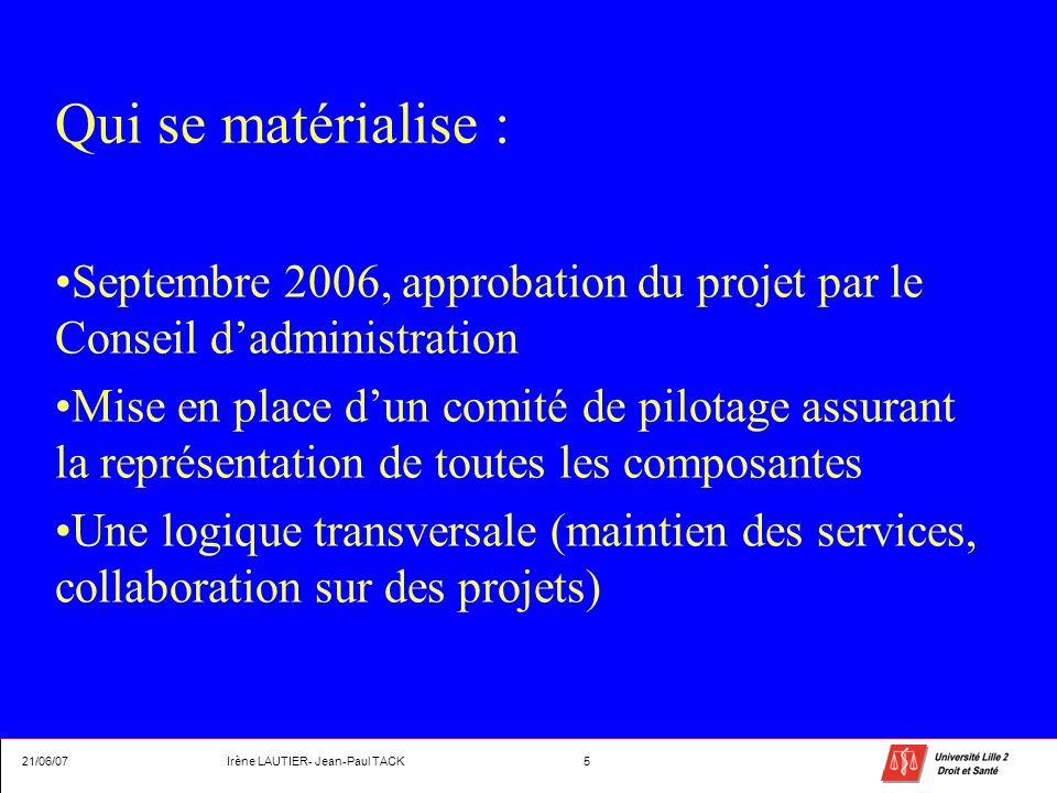 Qui se matérialise : Septembre 2006, approbation du projet par le Conseil dadministration Mise en place dun comité de pilotage assurant la représentat