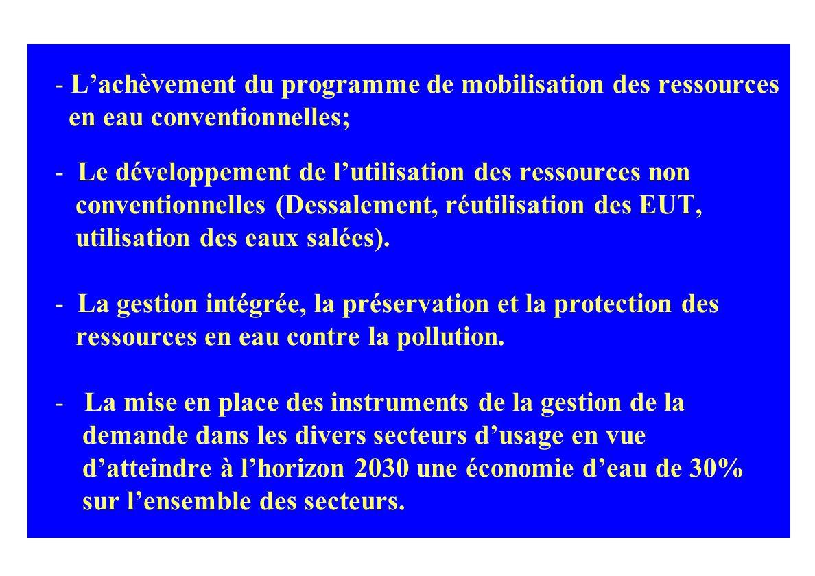 La politique de l eau en Tunisie a toujours é t é accompagn é e de mesures compl é mentaires, é conomiques et institutionnelles: Instruments et incita