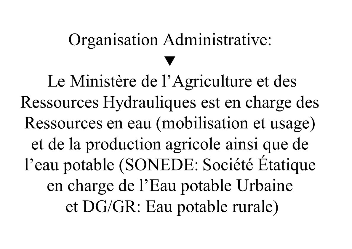 CAS DE LA TUNISIE Minist è re de l Agriculture et des ressources Hydrauliques Tunisie Institut National Agronomique de Tunisie LA STRATEGIE DE GESTION