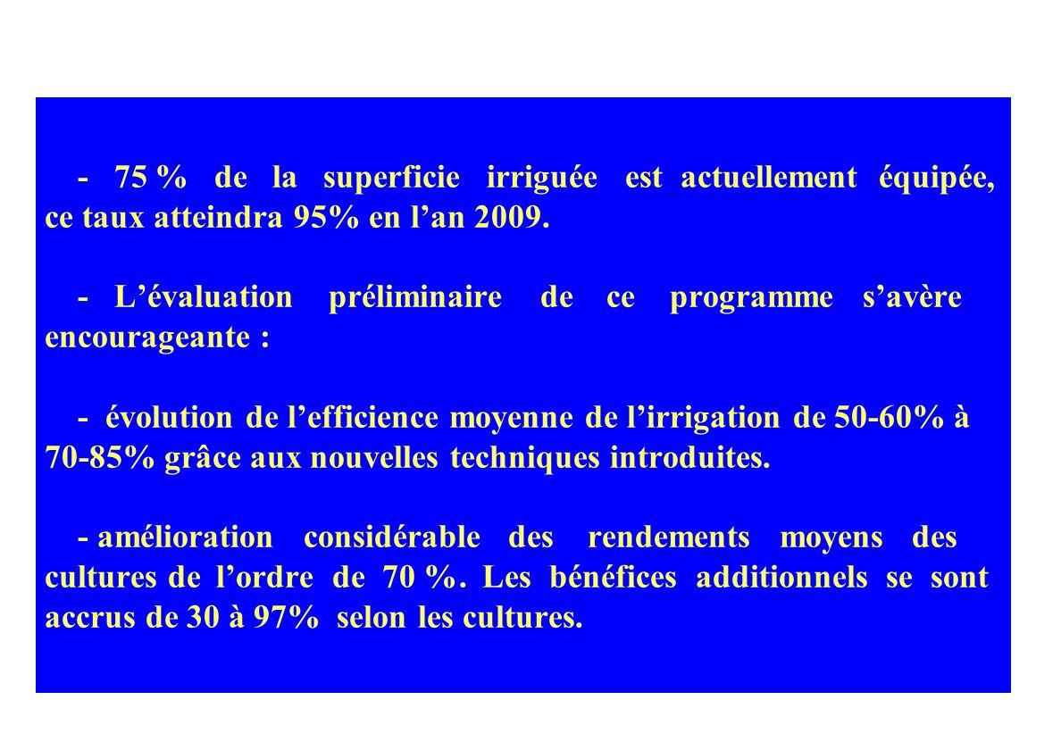 4 – LE PROGRAMME D ECONOMIE D EAU A LA PARCELLE - Ce programme a connu un élan considérable à partir de 1995, favorisé par loctroi de subventions dest