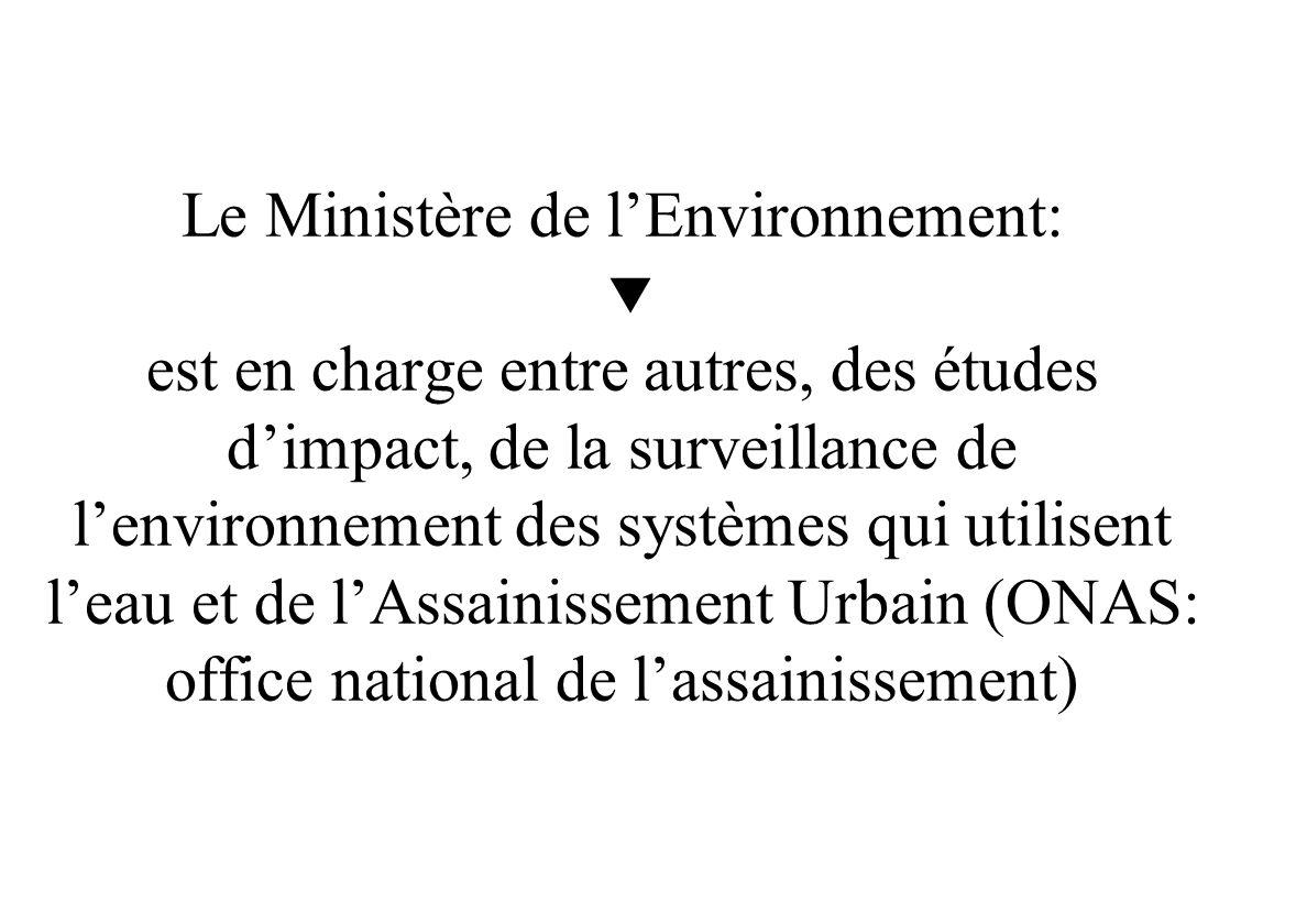 Organisation Administrative: Le Ministère de lAgriculture et des Ressources Hydrauliques est en charge des Ressources en eau (mobilisation et usage) e