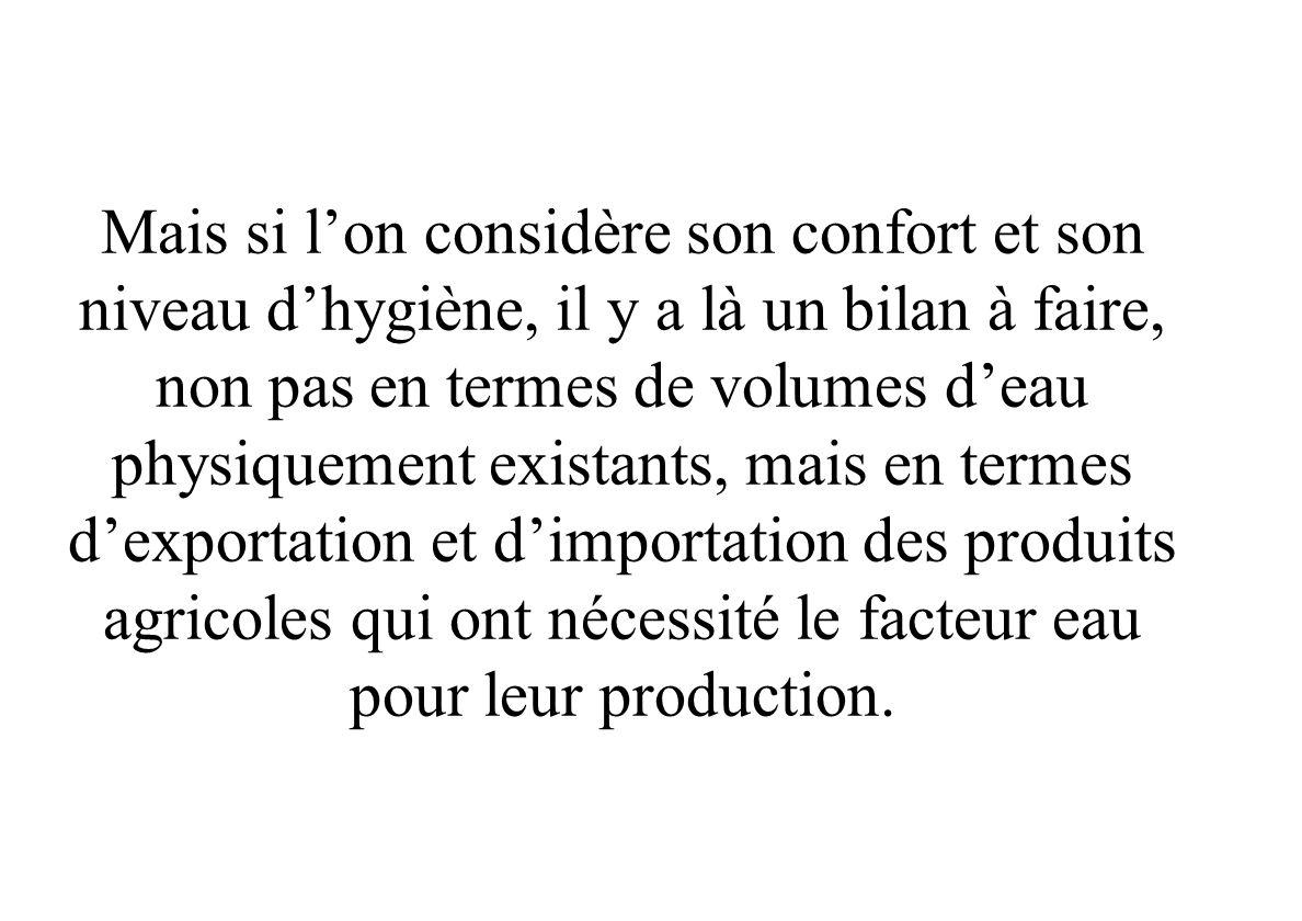Bilan Eau exportée – Eau importée (Bilan physique et économique) Le quota en eau du tunisien en lan 2004 est de 417m 3 /an/habitant, plus faible que l