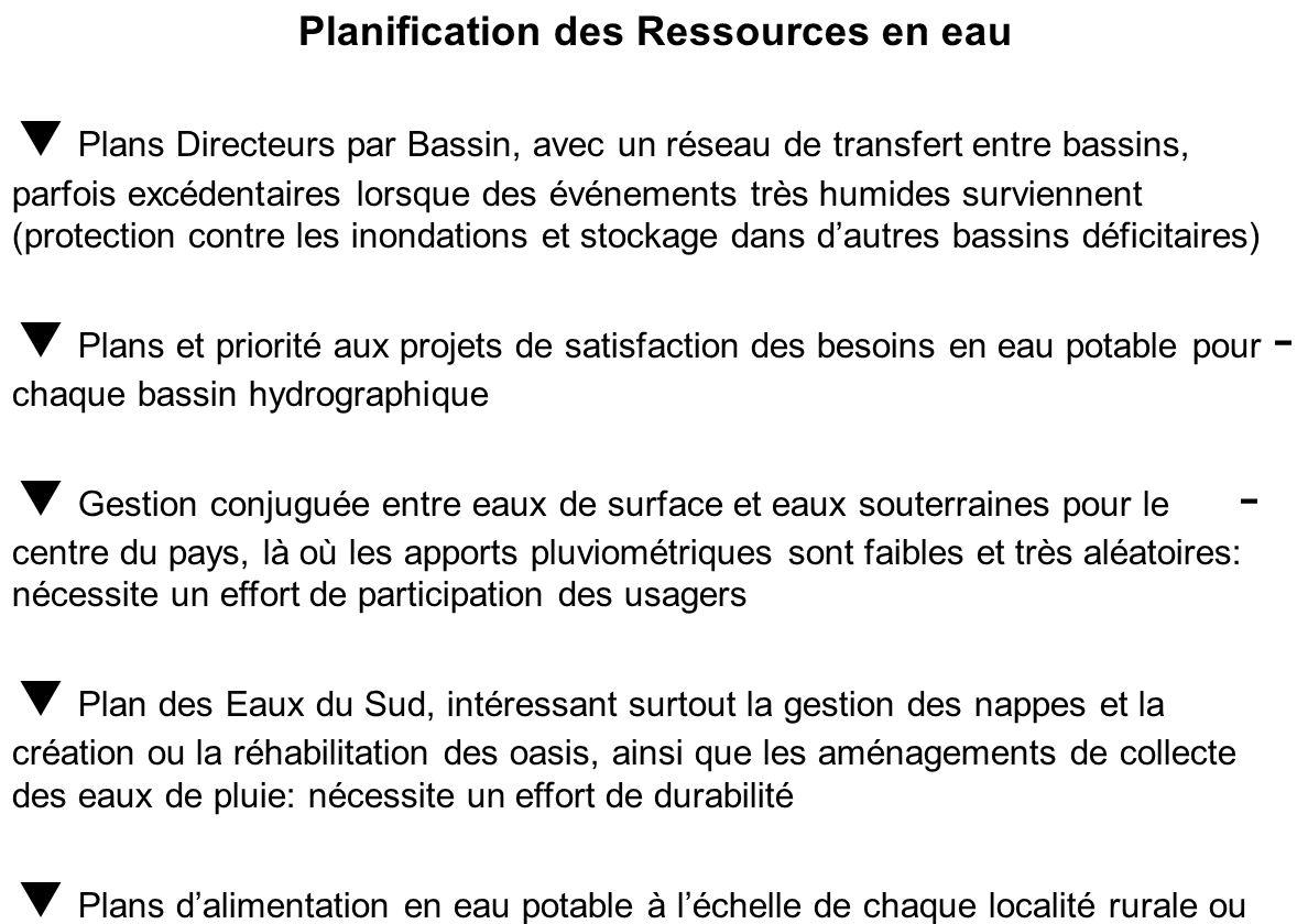 La Gestion de leau en Tunisie se veut intégrée et sappuie sur : des Directions Générales centrales, Techniques des Commissariats Régionaux de Développ
