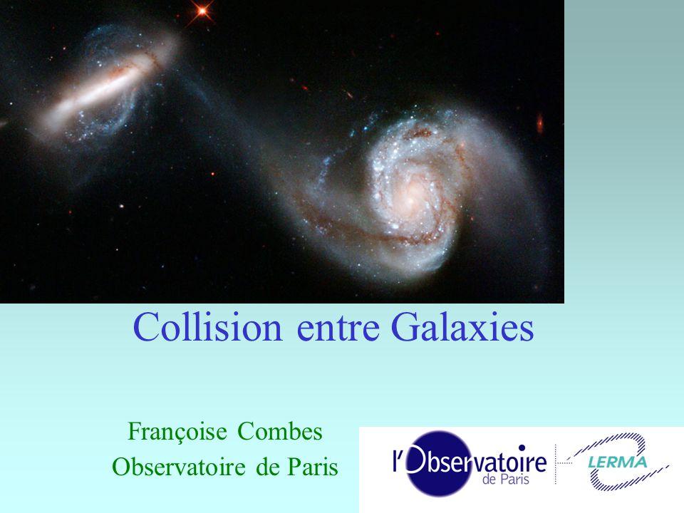 32 Galaxies en anneau Lorsque la collision est de plein fouet, les deux bras spiraux s enroulent en anneau: onde de densité concentriques