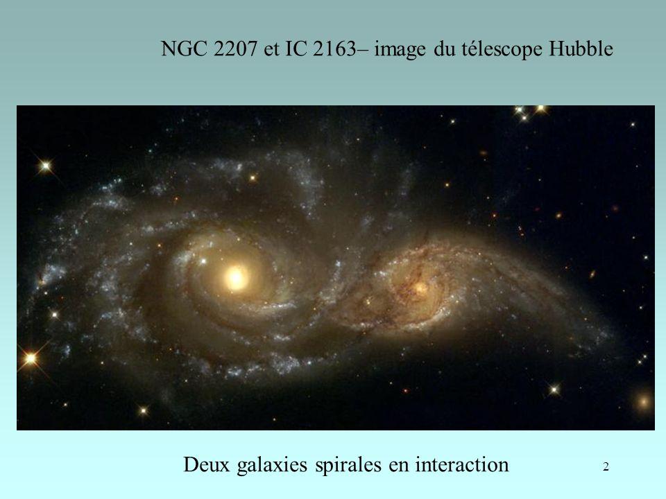 2 NGC 2207 et IC 2163– image du télescope Hubble Deux galaxies spirales en interaction