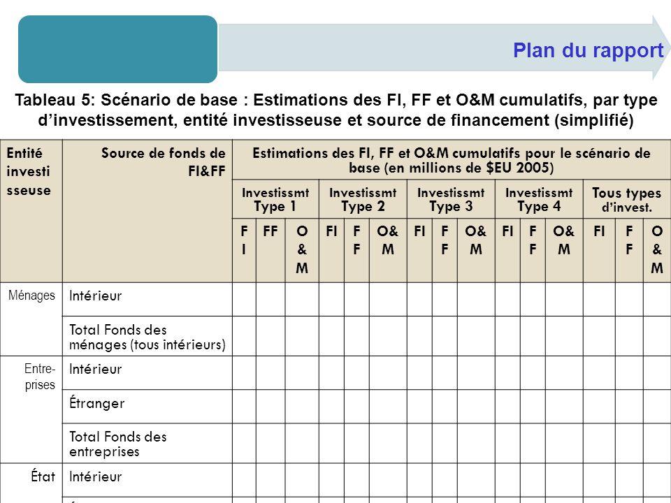 Plan du rapport Entité investi sseuse Source de fonds de FI&FF Estimations des FI, FF et O&M cumulatifs pour le scénario de base (en millions de $EU 2005) Investissmt Type 1 Investissmt Type 2 Investissmt Type 3 Investissmt Type 4 Tous types dinvest.
