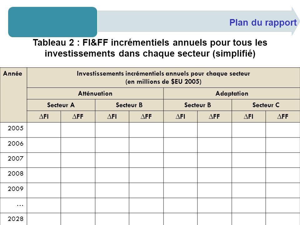 Plan du rapport Tableau 2 : FI&FF incrémentiels annuels pour tous les investissements dans chaque secteur (simplifié) AnnéeInvestissements incrémentiels annuels pour chaque secteur (en millions de $EU 2005) AtténuationAdaptation Secteur ASecteur B Secteur C FIFFFIFFFIFFFIFF 2005 2006 2007 2008 2009 … 2028 2029 2030