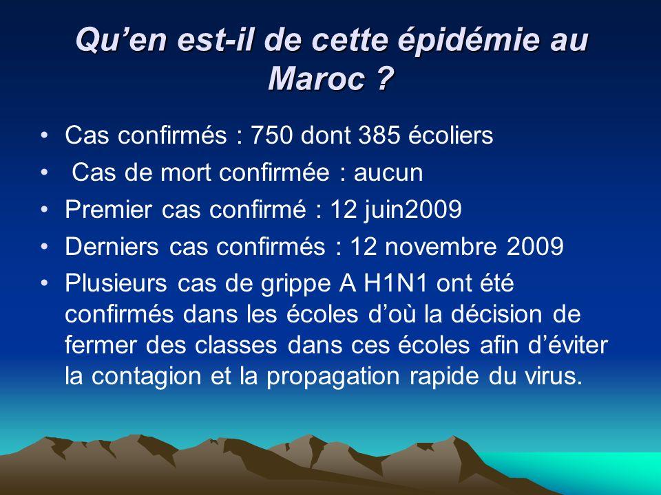 Quen est-il de cette épidémie au Maroc ? Cas confirmés : 750 dont 385 écoliers Cas de mort confirmée : aucun Premier cas confirmé : 12 juin2009 Dernie