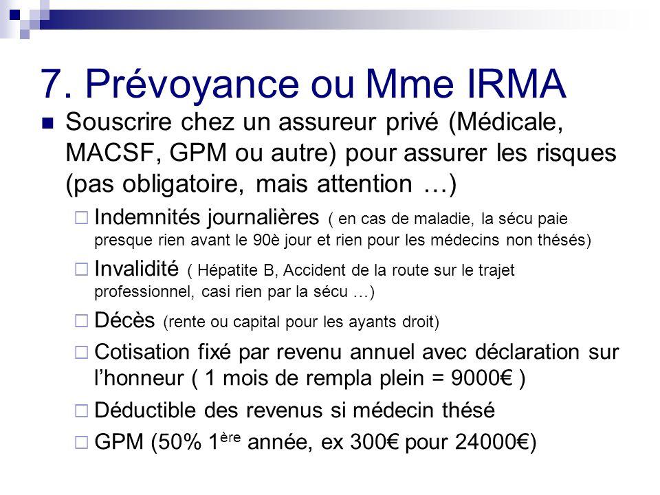 7. Prévoyance ou Mme IRMA Souscrire chez un assureur privé (Médicale, MACSF, GPM ou autre) pour assurer les risques (pas obligatoire, mais attention …