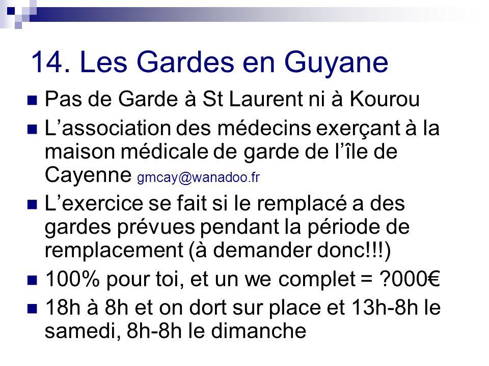 14. Les Gardes en Guyane Pas de Garde à St Laurent ni à Kourou Lassociation des médecins exerçant à la maison médicale de garde de lîle de Cayenne gmc