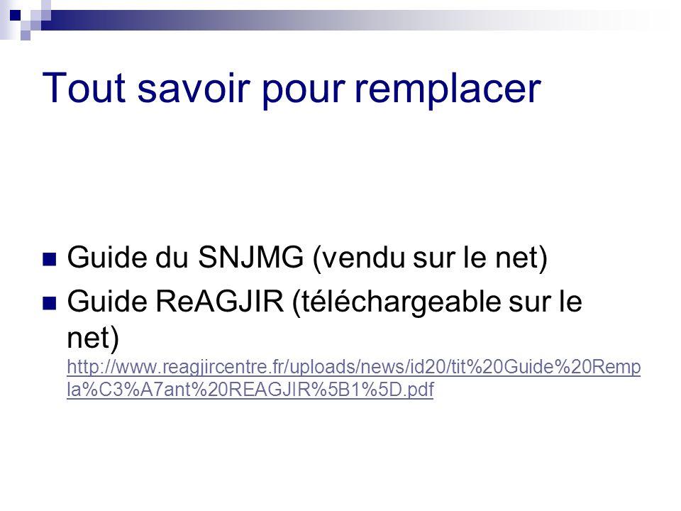 Tout savoir pour remplacer Guide du SNJMG (vendu sur le net) Guide ReAGJIR (téléchargeable sur le net) http://www.reagjircentre.fr/uploads/news/id20/t