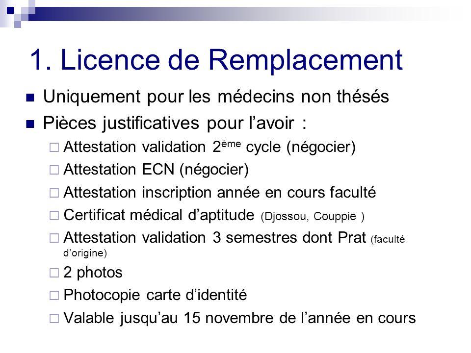 1. Licence de Remplacement Uniquement pour les médecins non thésés Pièces justificatives pour lavoir : Attestation validation 2 ème cycle (négocier) A