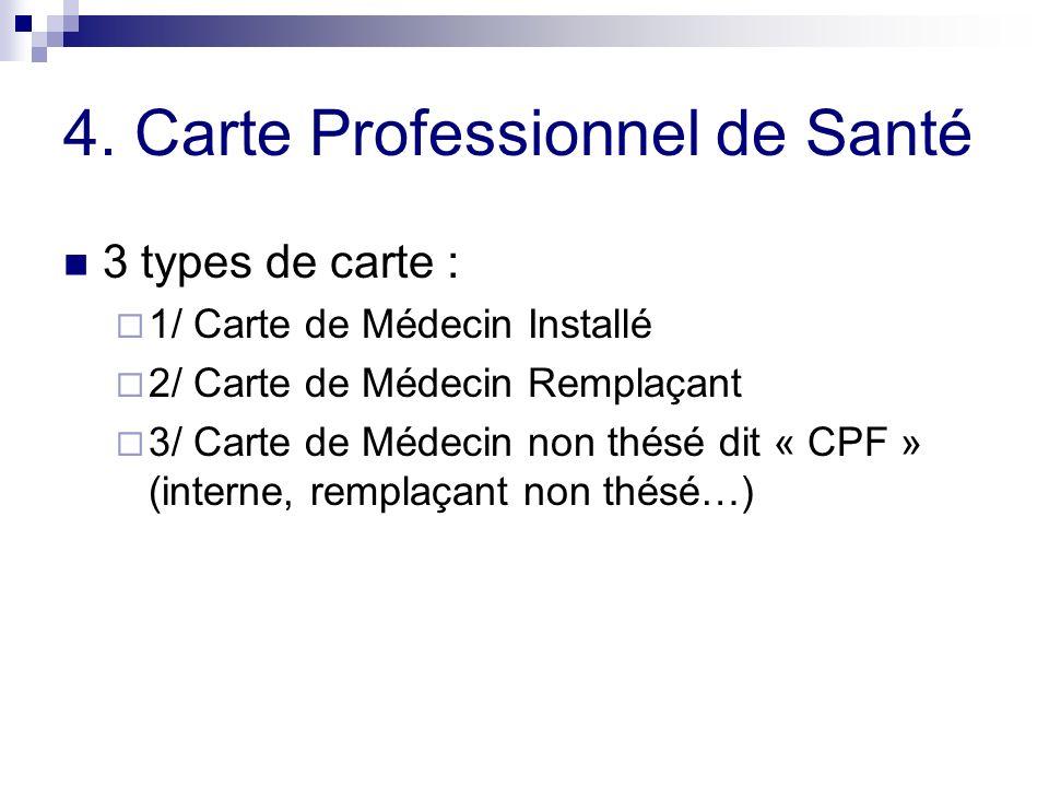 4. Carte Professionnel de Santé 3 types de carte : 1/ Carte de Médecin Installé 2/ Carte de Médecin Remplaçant 3/ Carte de Médecin non thésé dit « CPF